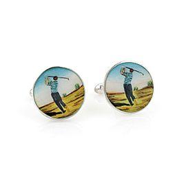 Tiffany & Co. Vintage Enamel Sterling Silver Round Golfer Stud Cufflinks