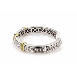 Judith Ripka 1.12ct Diamond Garnet Sterling 18K YGold Cuff Bangle Bracelet