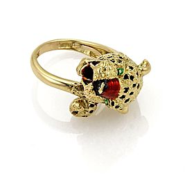 18k Yellow Gold Enamel Hefty Panther Head & Tail Bypass Ring Size 8.5