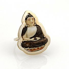 Vintage 14k Yellow Gold Hand Painted Buddah On Lotus Flower Ring Size 8.5
