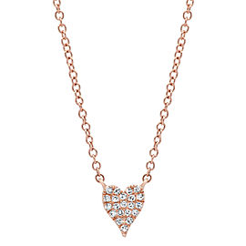 Rachel Koen 14K Rose Gold Pave Diamond 0.05cttw Heart Pendant 18 Inch Necklace