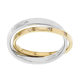 Damiani Bliss 18K Yellow Gold & Stainless Steel 0.11cttw Diamonds Two You Ring Size 9