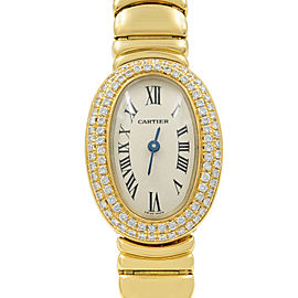 Cartier Mini Baignoire 18K Yellow Gold Silver Dial Diamond Ladies Watch WB5094WI