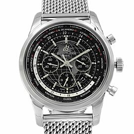 Breitling Transocean Unitime Black Dial Steel Automatic Mens Watch AB0510U4/BE84
