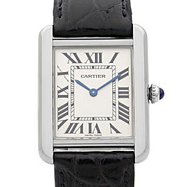 Cartier Tank Solo Steel Silver Roman Rectangle Dial Ladies Quartz Watch W5200005