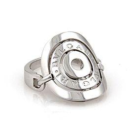 Bvlgari Bulgari Astrale Cerchi 18k White Gold Contour Flex Top Ring Size 5
