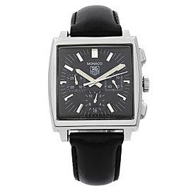 Tag Heuer Monaco Chronograph Steel Black Dial Automatic Mens Watch CW2111.FC6171