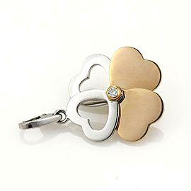 65262 Cartier Diamond 18k Rose White Gold 4 Hearts Clover Pendant Charm