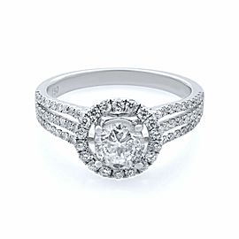 Rachel Koen 18K White Gold Round Diamond Halo Engagement Ring 1.15cts Size 6.75