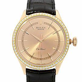 Rolex Cellini Time 18K Everose Gold Diamond Bezel Pink Dial Mens Watch 50705RBR