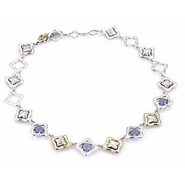 David Yurman Chalcedony Quatrefoil Link 18k Gold & Sterling Toggle Necklace