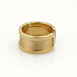 Cartier Double C 18k Yellow Gold 10mm Wide Band Ring Size EU 51 - US 5.5