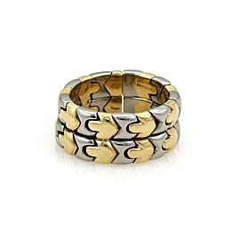 Bvlgari Bulgari PARENTESI 18k Yellow Gold & Steel Double Stack Flex Band Ring