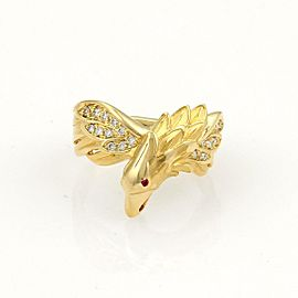 Carrera y Carrera Diamond & Ruby 18K Yellow Gold Eagle Ring Size 6