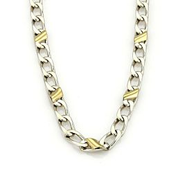 Tiffany & Co. Sterling Silver 18k Yellow Gold Accent Curb Link Chain 16""