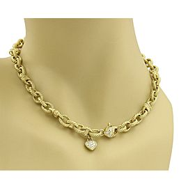 Beautiful 18k Yellow Gold & Diamond Oval Cable Textured Chain Link Necklace