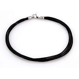 Bvlgari Bulgari 18K White Gold Multi Strand Black Cord Designer Necklace 15.5""