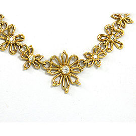 1.80ct Diamond 18k Yellow Gold Floral Link Necklace