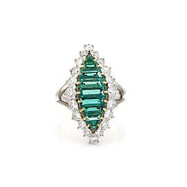 Platinum 4.3ctw Diamond & Emerald 18k Yellow Gold Cocktail Ring