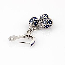 $8,070 18K White Gold Faberge Enamel Egg Tassel Dangle Earrings - NEW with Box