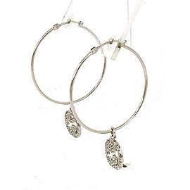 Gucci G Logo Charm Diamond 18k White Gold Large Hoop Dangle Earrings