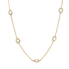 14K Yellow Gold with Quartz Necklace