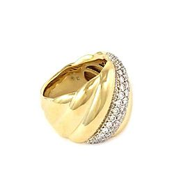 David Yurman 1.00ct Diamond 18k Two Tone Gold Wide Fancy Band Ring Size 8