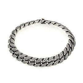 David Yurman 4.00ct Diamond 925 Silver 18k Gold 11.5mm Men's Curb Link Bracelet