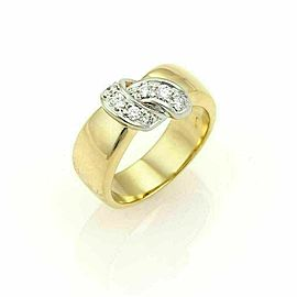 Pomellato Diamonds 18k Two Tone Gold Ribbon Wrap Band Ring