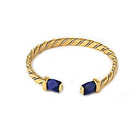 Pomellato Lapis 18k Two Tone Gold Fancy Cuff Bangle Bracelet
