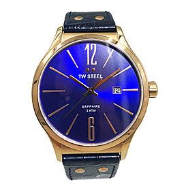 TW Steel Slim Line Rose Gold Stainless Steel Blue Dial Quartz Mens Watch TW1305