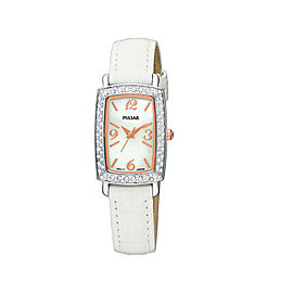 Pulsar Crystal Case White Strap White Mother-of-Pealr Dial Womens Watch PTC503