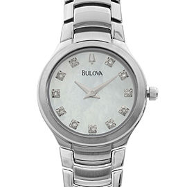 Bulova Stainless Steel MOP Diamond Accent Dial Quartz Womens Watch 96P20