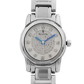 Bulova Highbridge Stainless Steel Silver Tone Diamond Dial Womens Watch 96P143