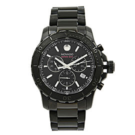 Movado Series 800 Chronograph Black Dial Quartz Stainless Steel Watch 2600119