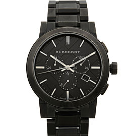 Burberry Chronograph Ion Plated Steel Gray Dial Quartz Mens Watch BU9354