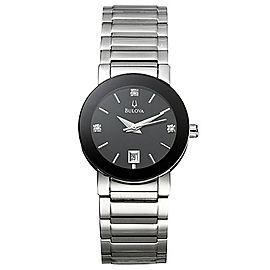 Bulova Diamond Black Sticks Dial Steel Quartz Ladies Watch 96P24
