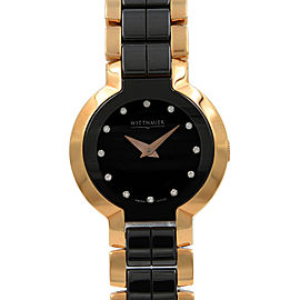 Wittnauer Ceramic Rose Gold Tone Steel Black Dial Ladies Quartz Watch 12P102