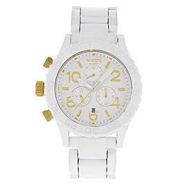 Nixon Minimize 42-20 Chronograph White Dial Rotating Bezel Steel Mens Watch