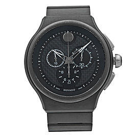 Movado Parlee Carbon Fiber Sticks Dial Titanium Peek Quartz Mens Watch 0606929