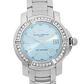 Baume et Mercier Capeland S Steel Diamond Blue Dial Quartz Ladies Watch 65435