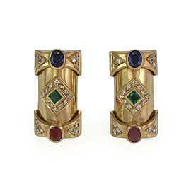 Estate 1.00ct Diamond 18k Yellow Gold Sapphire Ruby Emerald Long Earrings