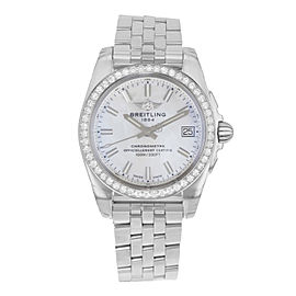 Breitling Galactic Steel MOP Dial Diamond Quartz Ladies Watch A7433053/A779-376A