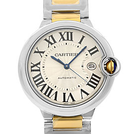 Cartier Ballon Bleu Steel 18K Gold Guilloche Silver Dial Men Watch W2BB0022