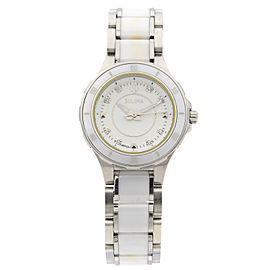 Bulova Substantial Ceramic Stainless Steel White Dial Womens Watch 98P124