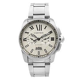 Cartier de Calibre Chronograph Steel Silver Dial Automatic Mens Watch W7100045