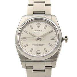 Rolex Oyster Perpetual 34mm Steel Silver Dial Automatic Unisex Watch 114200