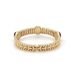 Bvlgari 12 Carats Cabochon Pink Tourmaline 18k Yellow Gold Flex Cuff Bracelet