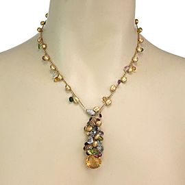 Marco Bicego Paradise Diamond Multicolor Gems 18k Yellow Gold Necklace