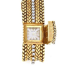 Cartier Rare Vintage 3.25ct Diamond 18k Gold Wide Flex Band Cover Watch